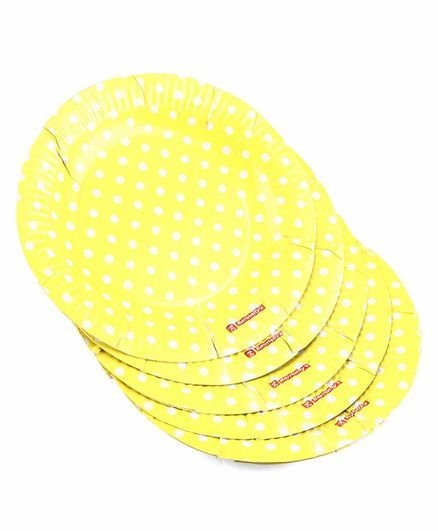 Karmallys Polka Dots Print Paper Plates Yellow- Pack of 10