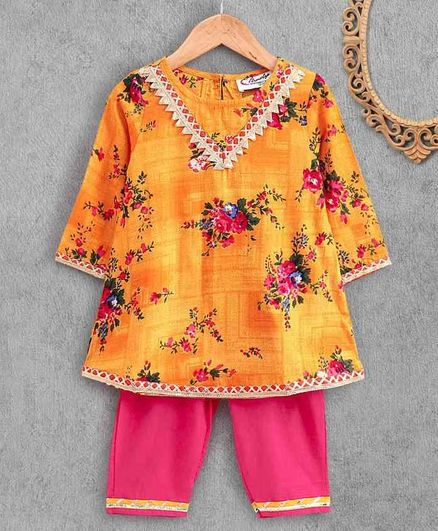 M'Andy Full Sleeves Floral Print Kurta & Palazzo Set - Yellow