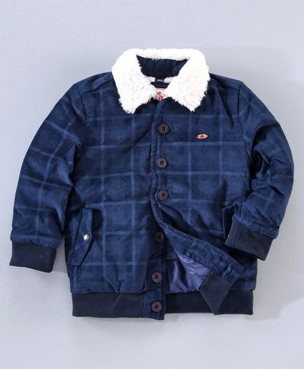 Under Fourteen Only Full Sleeves Checkered Jacket - Navy Blue