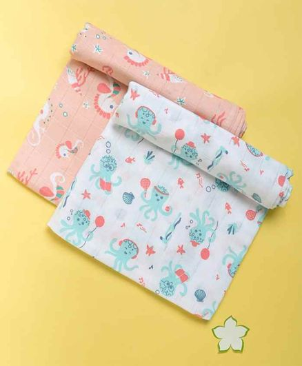 Kaarpas Ocean Dive Organic Muslin Swaddle Octopus & Seahorse Small Pack of 2 - White Peach