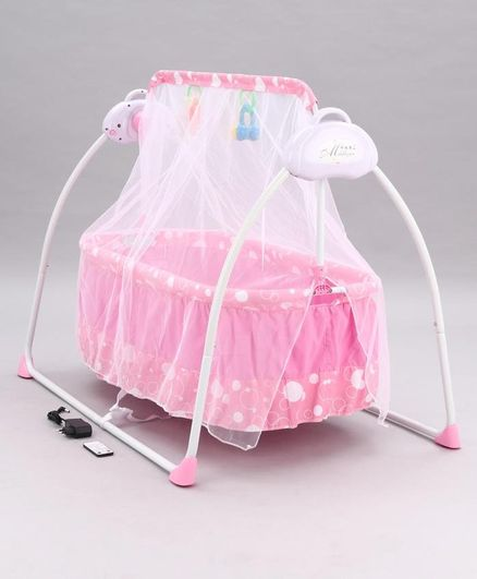 Remote Control Cradle with Mosquito Net - Pink