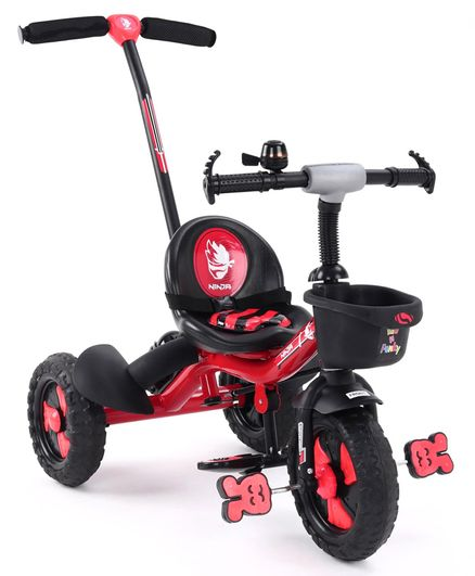 Plug & Play Tricycle With Parental Push Handle  - Red