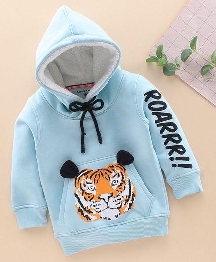 Stupid Cupid Lion Print Full Sleeves Hoodie - Blue