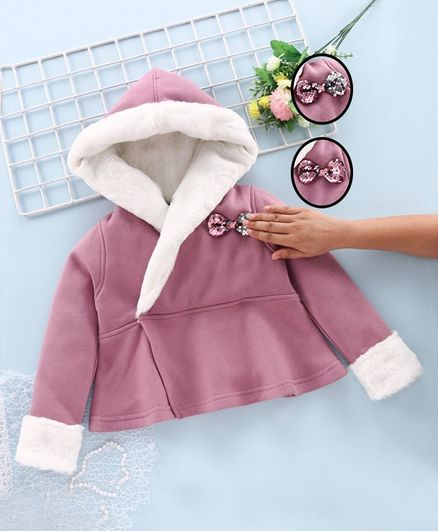Stupid Cupid Full Sleeves Sequined Bow Embellished Hooded Jacket - Rose Gold