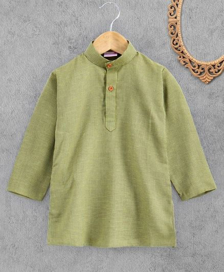 Ridokidz Full Sleeves Checked Kurta - Green