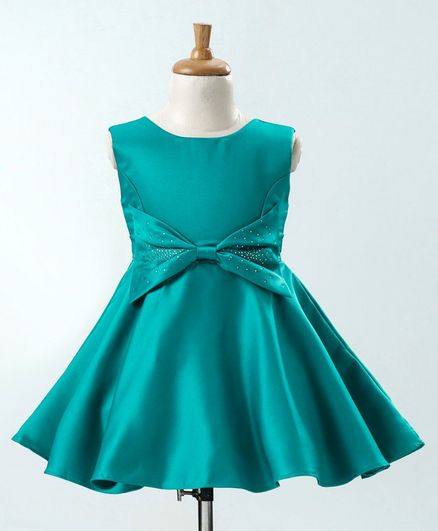 Twetoons Sleeveless Party Wear Frock with Studded Bow - Green