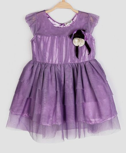 Peppermint Cap Sleeves Flower Applique Netted Dress - Lavender