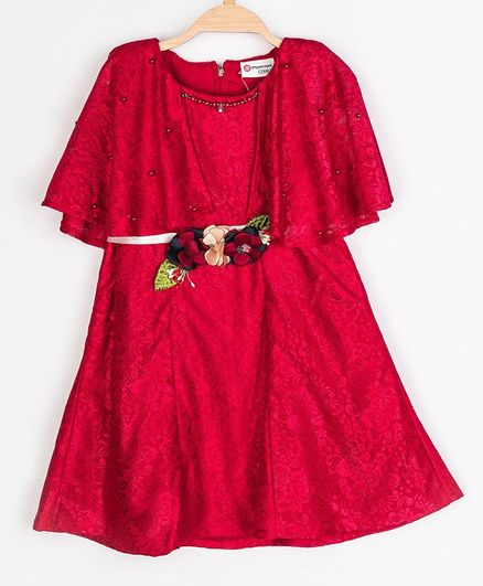 Peppermint Short Sleeves Flared Silhouette Floral Lace Dress - Red