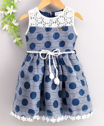 Peppermint Sleeveless Polka Dot Printed Dress - Blue