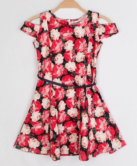 Peppermint Cold Shoulder Short Sleeves Rose Printed Fit & Flare Dress - Red