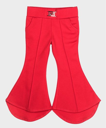 Peppermint Fitted Silhouette Solid Full Length Pants - Red