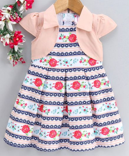 Rassha Short Sleeves Flower Print Shrug Attached Dress - Blue