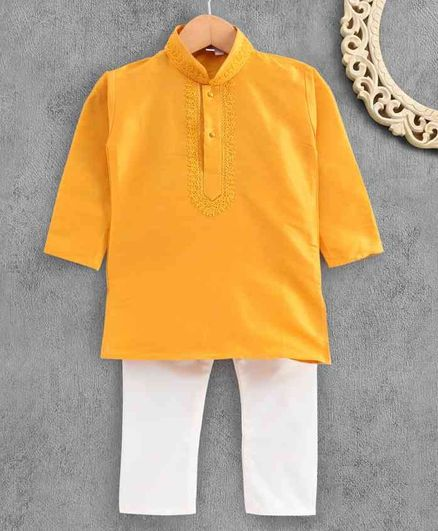 Ridokidz Full Sleeves Solid Colour Kurta & Pajama Set - Yellow