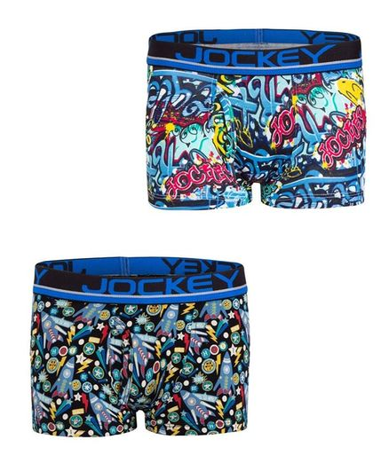 JOCKEY Pack of 2 Printed Trunks  - Assorted Printed (7-8 Y)