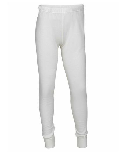 Jockey Kids Solid Colour Full Length Thermal Leggings - Off White