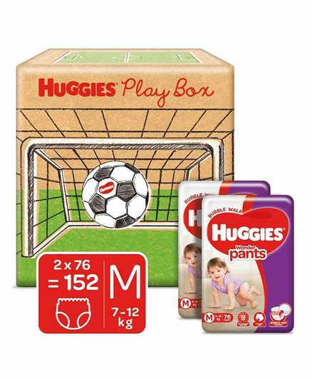 Huggies Play Box with Huggies Wonder Pants Monthly Pack Medium Size Diapers Pack of 2 - 152 Pieces