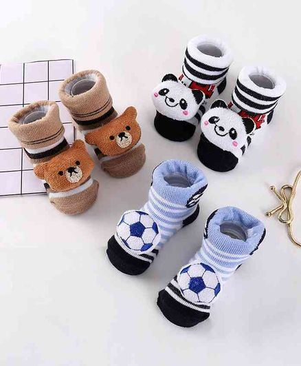 Cute Walk by Babyhug Socks Shoes Pack of 3 - Multicolor
