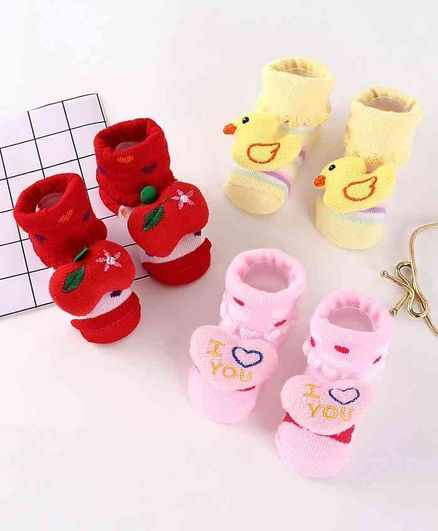Cute Walk by Babyhug Socks Shoes Pack of 3 - Red Pink Yellow