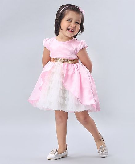 Babyhug Cap Sleeves Party Frock with Sequin Embroidered Waistline - Pink