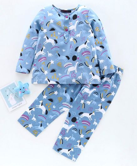 Pspeaches Animals Print Full Sleeves Night Suit - Blue