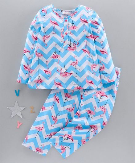 Pspeaches Flamingo Print Full Sleeves Night Suit - Blue