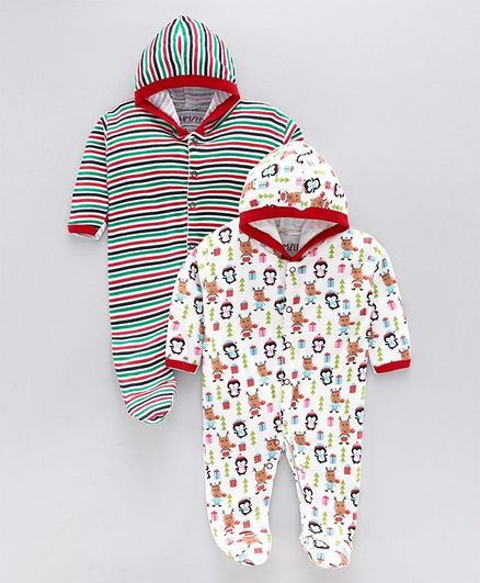 Bumzee Full Sleeves Striped & Printed Pack Of 2 Hooded Sleep Suits - Red