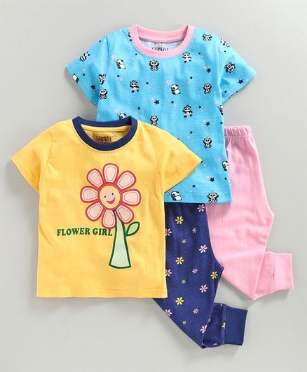 Bumzee Half Sleeves Panda Print Pack Of 2 Tee & 2 Bottom Set - Yellow & Blue