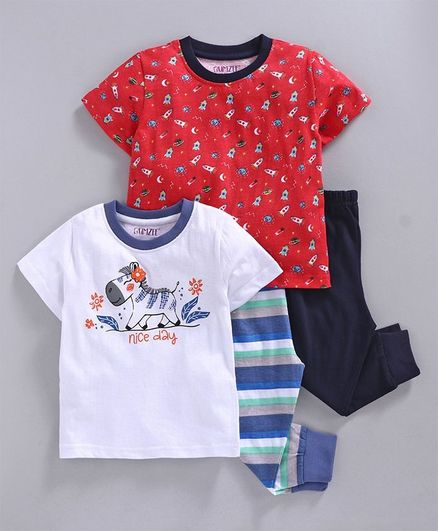 Bumzee Half Sleeves Baby Zebra Print Pack Of 2 Tee & 2 Bottom Set - White & Red