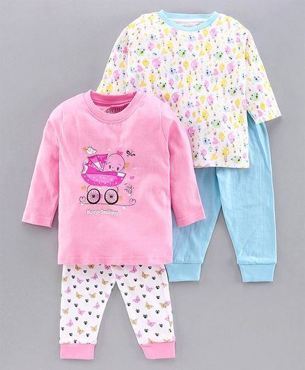 Bumzee Full Sleeves Baby Print Pack Of 2 Tee & 2 Bottom Set - Pink & Blue