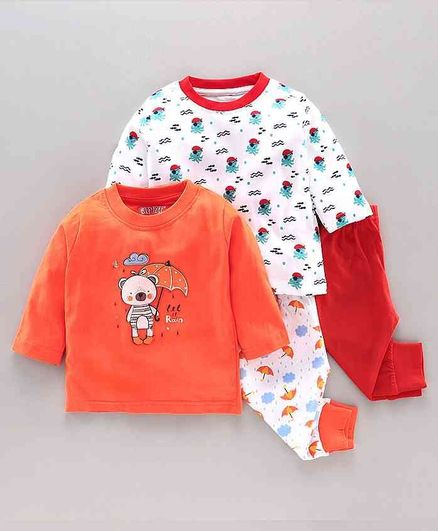 Bumzee Full Sleeves Animal Print Pack Of Two Tee With Two Pajama - Orange Red