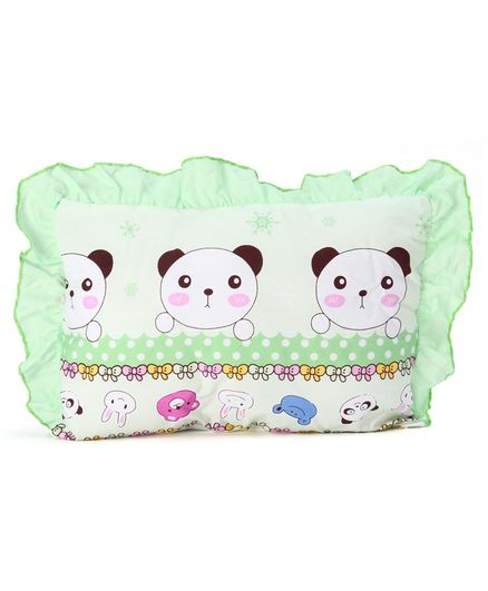 Montaly Frilled Rectangular Baby Pillow Animal Print - Green White