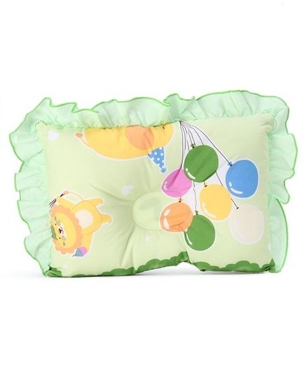 Montaly Frilled Rectangular Baby Pillow Balloon Print - Green