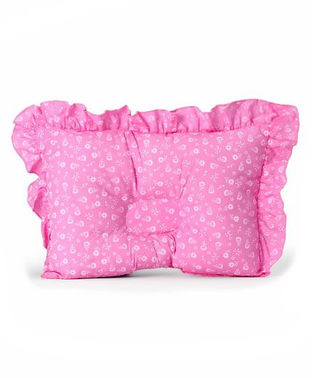 Montaly Rectangular Frilled Baby Pillow - Pink