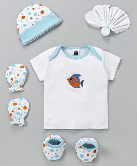 Mee Mee Clothing Gift Set Fish Print White Blue - Set of 5