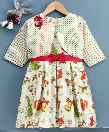 Twetoons Frock with Full Sleeves Shrug Christmas Print - White