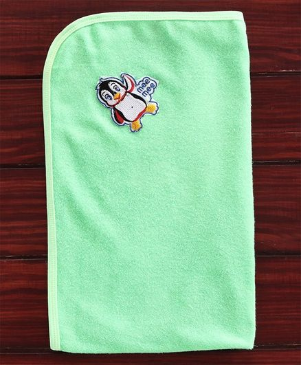 Mee Mee Baby Bath Towel Penguin Design - Green