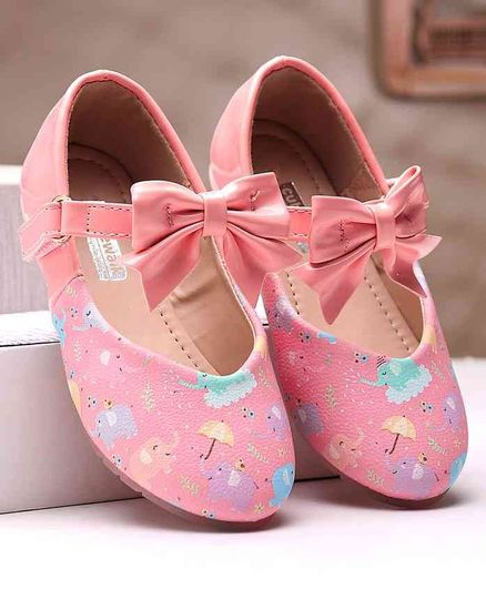 Cute Walk by Babyhug Belly Shoes Bow Applique - Pink