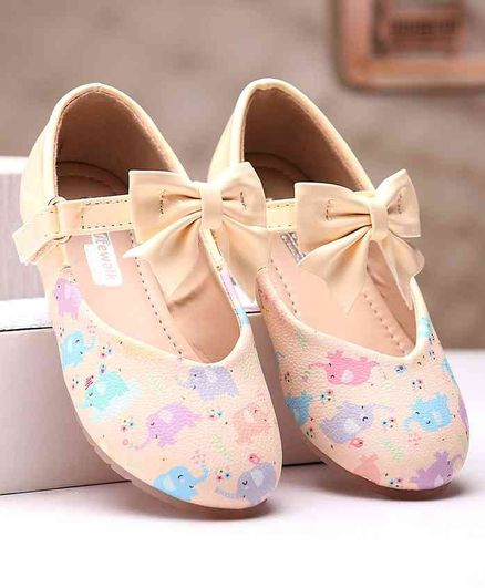 Cute Walk by Babyhug Belly Shoes Bow Applique - Beige