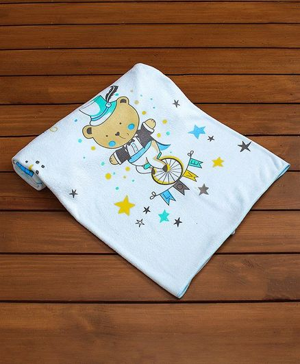 Mee Mee Baby Towel Animal Print - Light Blue