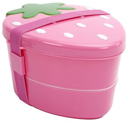 Fab N Funky Strawberry Pattern Lunch Box - Pink