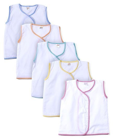 Tinycare Sleeveless Vests White Base Pack of 5 - Multicolour