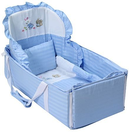 Carry Cot Bunny Embroidery - Blue