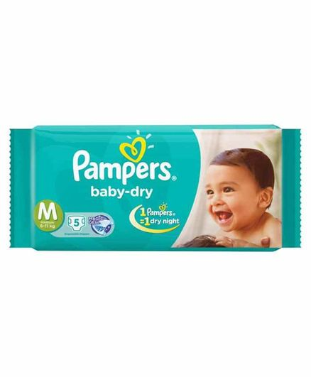 006e46a17 Pampers Baby Dry Diapers Medium 5 Pieces Online in India
