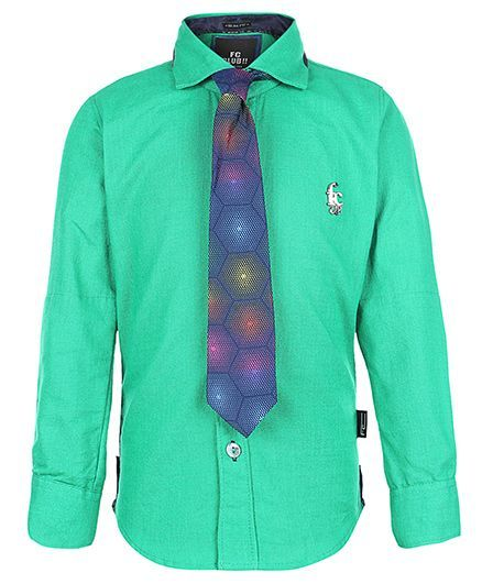 Finger Chips Full Sleeves Shirt With Tie - Logo Motif