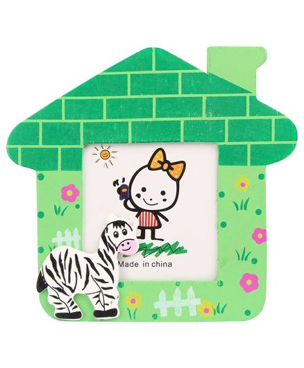 Zebra Motif Wooden Photo Frame House Shape