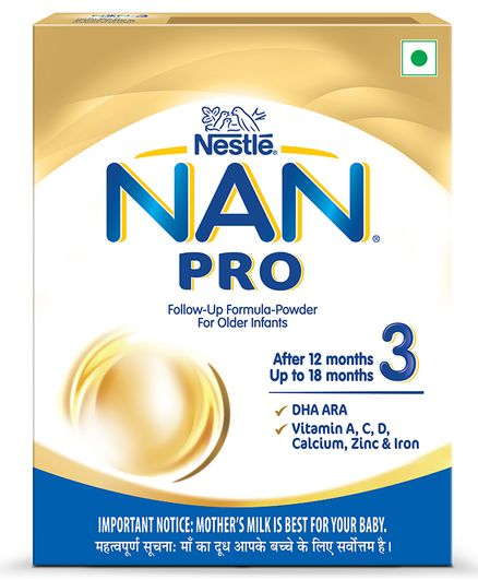 Nestle NAN PRO 3 Follow-Up Formula-Powder Stage 3 After 12 Months- 400 gm Bag-In-Box Pack