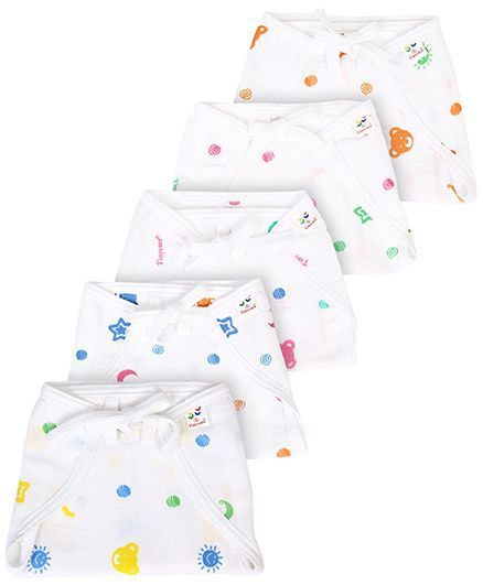 Tinycare Cloth Nappy Comfort Junior Large Print On White Base - Set of 5