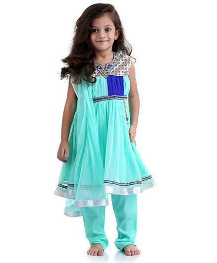 Babyhug Embroidered Anarkali Suit With Dupatta - Light Sea Green