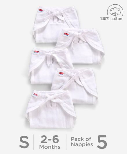 1b308efac Babyhug U Shape Reusable Muslin Nappy Set Lace Small Pack Of 5 - White