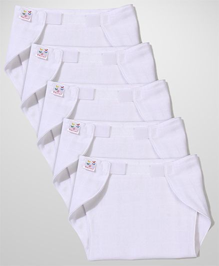 Tinycare Velcro Closure Plain White Nappy Set Small - Set Of 5